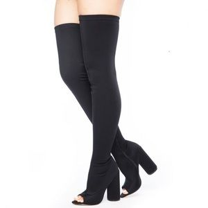 EGO OFFICAL THIGH HIGH PEEP-TOE BOOTS